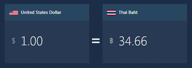 Thai Shares Dollar Baht coversion rate 190916